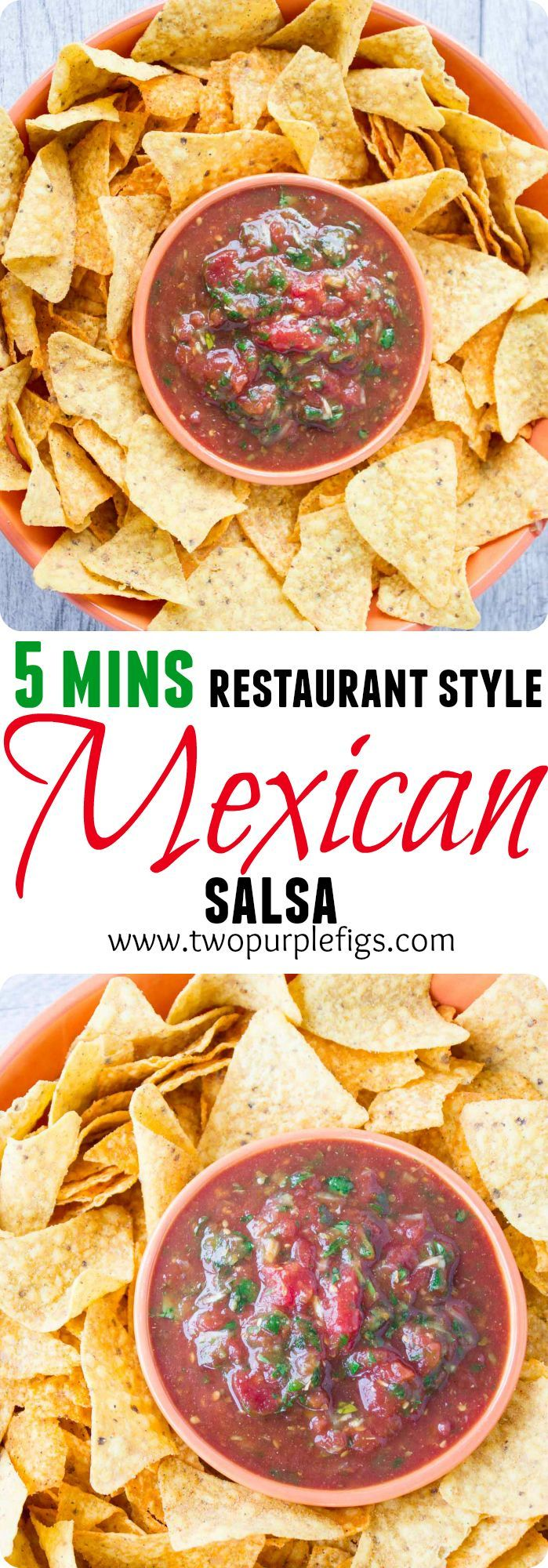 Restaurant Style Mexican Salsa. The best Salsa recipe you'll ever have--all made in a food processor and with a secret ingredient that adds unbelievable taste and texture! A last minute snack fix in 5 mins!  www.twopurplefigs.com