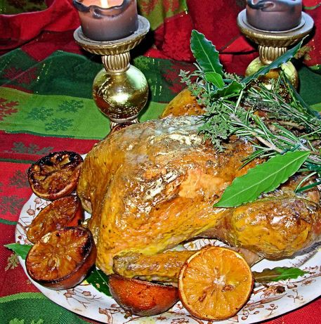 Gilded Saffron and Butter Basted Roast Turkey With Herb Garland. Photo by French Tart