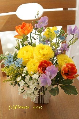 【今日の贈花】鮮やかな黄色で元気に! Flower note の 花日記 (横浜・上大岡 アレンジメント教室)