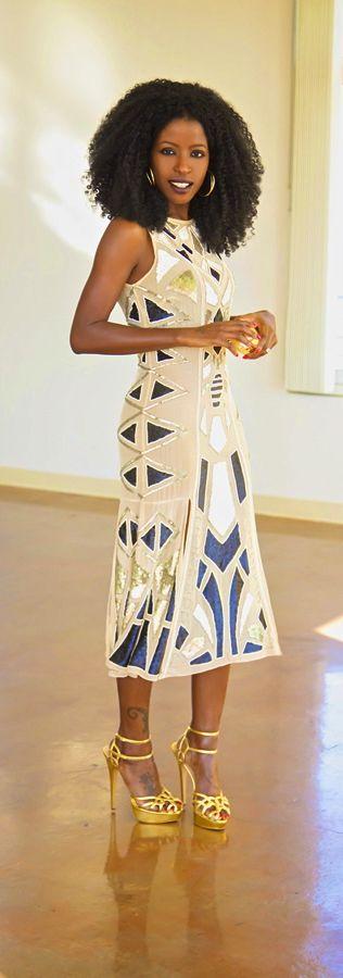 Geo Print Sequin Midi Dress / Style Pantry