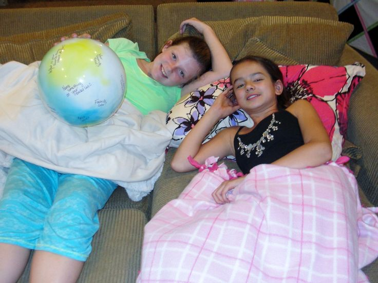 Ally's 11th Birthday we did a 50's Soda Fountain Sock Hop Theme Sleepover to coincide with her schools annual Sock Hop!  Huge Hit!!   Girls Just wanna have fun!!  We used a ball from the dollar store and I wrote random questions, when they tossed the ball, whatever question was closest to their right thumb was what they had to answer!  They loved it!