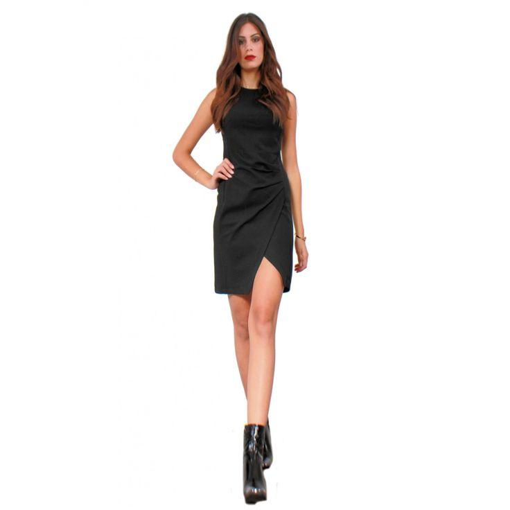 Φόρεμα αμάνικο σε ελαστικό ύφασμα μύτη κάτω 70%Visk-25%Nylon-5%Lycra