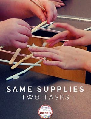 Excellent way to get your STEM Class to collaborate! Two groups- same supplies, two different task- but in the end the two structures must be joined! Includes all the directions you need, lab sheets, and hints!