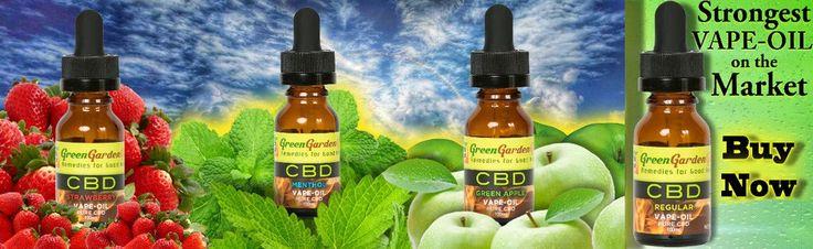 Green Garden Gold CBD Vape Oil provided by WizardsCBD in four different flavor.