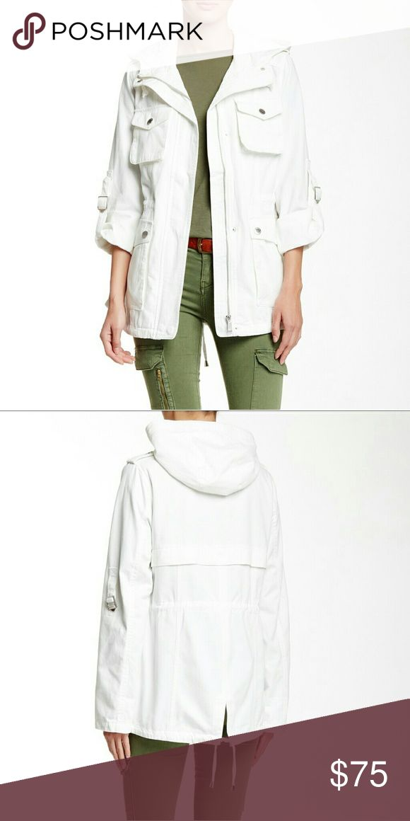 NWT BCBG White Jacket This BCBGeneration jacket is so cute and stylish! It has a hood, plenty of pockets, and a sleeve that can be worn either rolled up or all the way down. This jacket is new with tags. BCBGeneration Jackets & Coats Utility Jackets