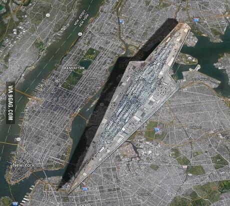 Size comparison between the Star Wars Super Star Destroyer and Manhattan