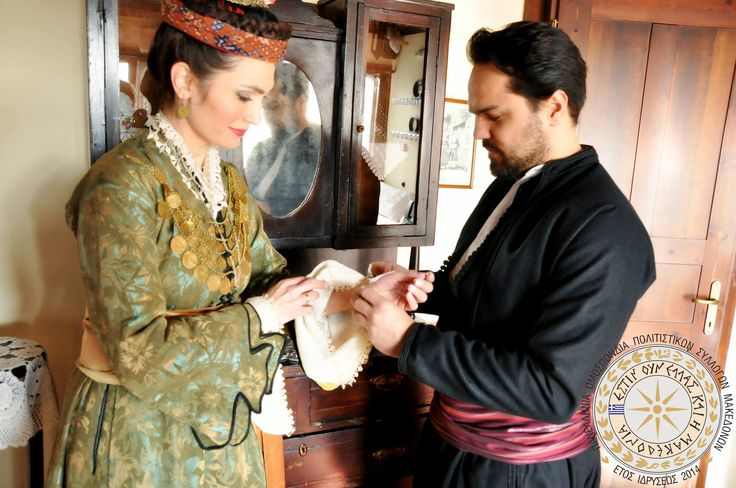 Macedonian traditional costumes - male and female, Edessa, historical Macedonia, northern Greece