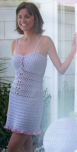 "This crochet dress by Tammy Hildebrand is designed to be a lingerie pattern but with the popularity of ""innerwear as outerwear"" it could be styled with a jacket and tights to be a great dress to wear out on the town."
