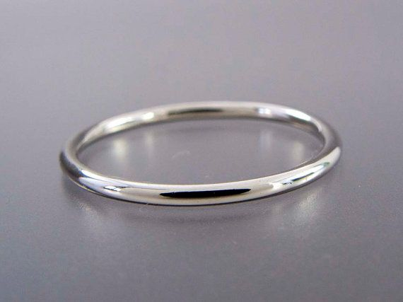 Thin Platinum Wedding Band 1.3mm Wide Stacking by LichenAndLychee