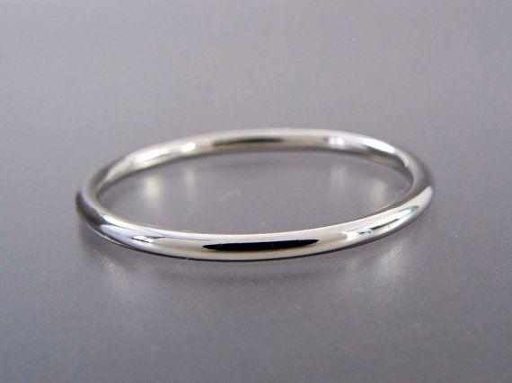 Thin Platinum Wedding Band 1.3mm Wide Stacking by LichenAndLychee