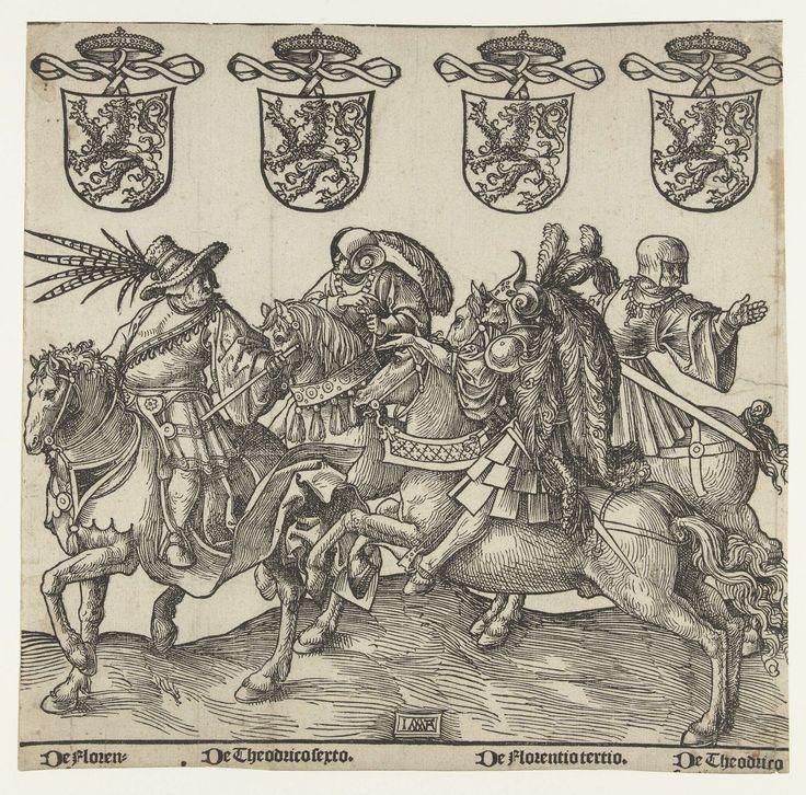 Jacob Cornelisz van Oostsanen | Floris II, Dirk VI, Floris III en Dirk VII, Jacob Cornelisz van Oostsanen, 1518 | Blad uit serie van negen bladen. De graven Floris II, Dirk VI, Floris III en Dirk VII te paard, met wapenschilden en namen, zonder tekst.