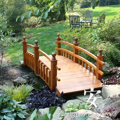 Building a footbridge over a stream woodworking projects for Fish pond bridges