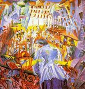 Street Noises Invade the House 1911  by Umberto Boccioni