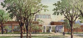 The George W. Bush Presidential Center, set to open May 1, 2013, is a complex that will include former President George W. Bush's presidential library and museum, the George W. Bush Policy Institute, and the offices of the George W. Bush Foundation.  Library and Museum Approach Artist Rendering. Courtesy George W. Bush Foundation and Michael McCann for Robert A.M. Stern Architects, LLP.