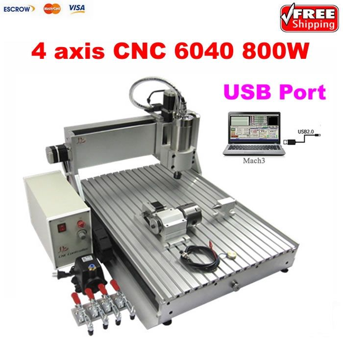 1899.00$  Buy now - http://alilu0.worldwells.pw/go.php?t=32749692805 - USB 800W 4 AXIS cnc machine woodworking router 6040 with with limit switch