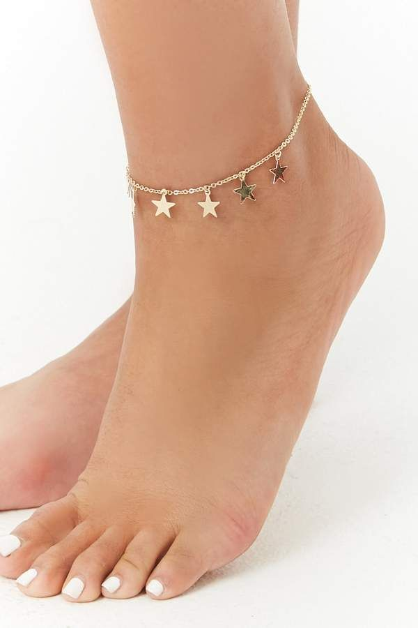 Colorful Star Heart Pendant Women Anklets Ankle Chain Yellow Gold Plated Jewelry