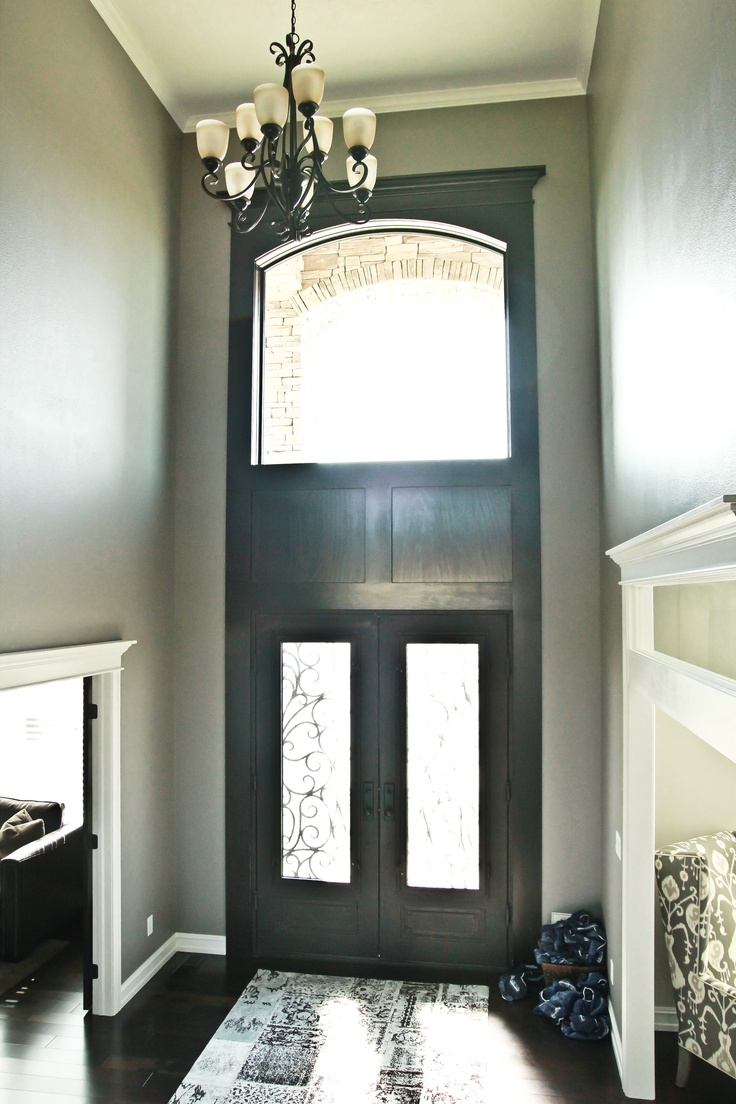 Foyer Window Design : Foyer lighting in a window above door entry