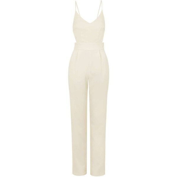 Kloss Cut-Out Jumpsuit by Jovonna (£10) ❤ liked on Polyvore featuring jumpsuits, jumpsuit, topshop, cream, white tailored jumpsuit, white jump suit, cream jumpsuit and white jumpsuit
