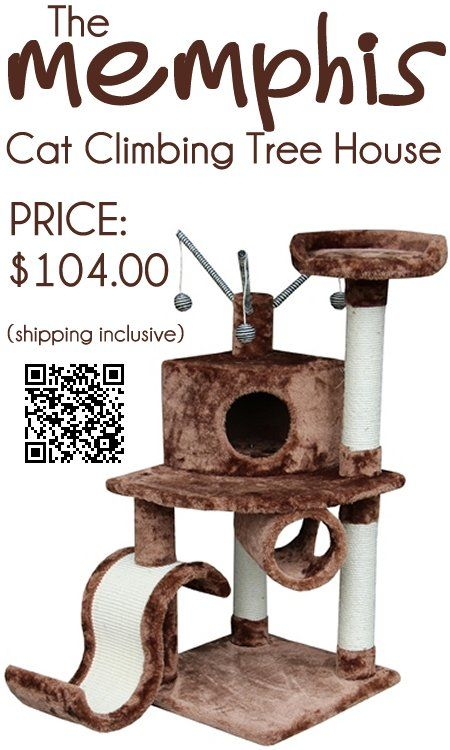 The Memphis Cat Climbing Tree House created by Kitty Mansions cat climbing towers in two very popular eye catching colors, is a 45 inch tall cat climbing tree would keep any domesticated indoor cat entertained, while their owners are not at home. This modern cat tree condo would give your cat the feeling of having a place of its very own because this is a realistic cat climbing tree.  - #kittymansions #catcondos #cattrees #catfurniture http://www.catbedandtoy.com/cat-climbing-towers
