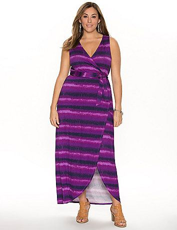 Celebrate the season in a soft, knit maxi dress in a modern print! This long & lovely number breathes fresh life into your wardrobe with sexy, faux wrap styling, flaunting what you've got with a surplice neckline and tulip hem. #LaneBryant