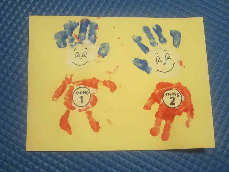 Thing 1 & Thing 2 Hand Print ART PROJECT!  :)