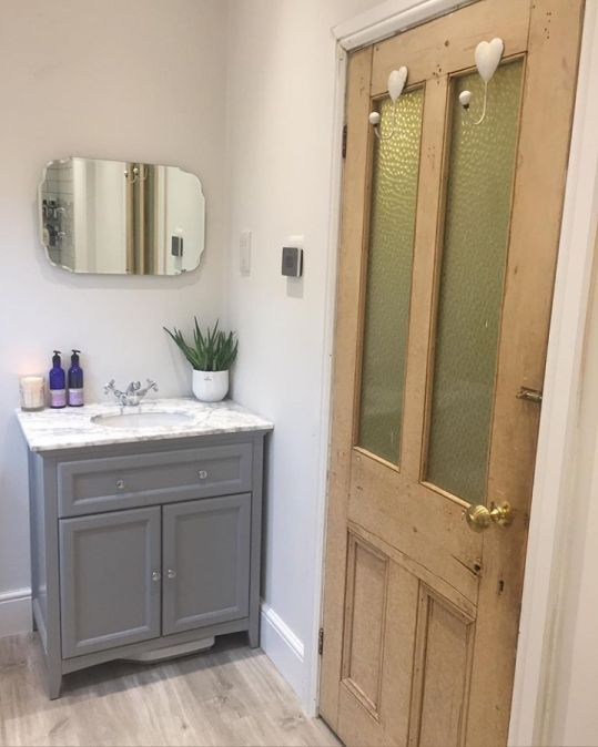 Grey Freestanding Vanity Unit With Marble Counter Top