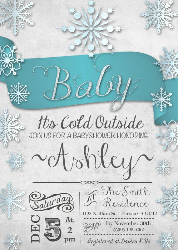 Baby Itu0027s Cold Outside Baby Shower Invitation Invite Winter Wonderland  Snowflake