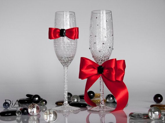 White & red Wedding glasses from the collection LACE by DiAmoreDS, $47.00