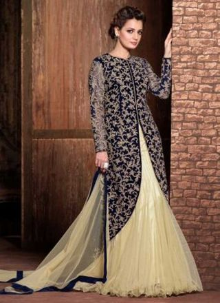 Blooming Black Pure Velvet With Work And Net Lehenga Choli http://www.angelnx.com/