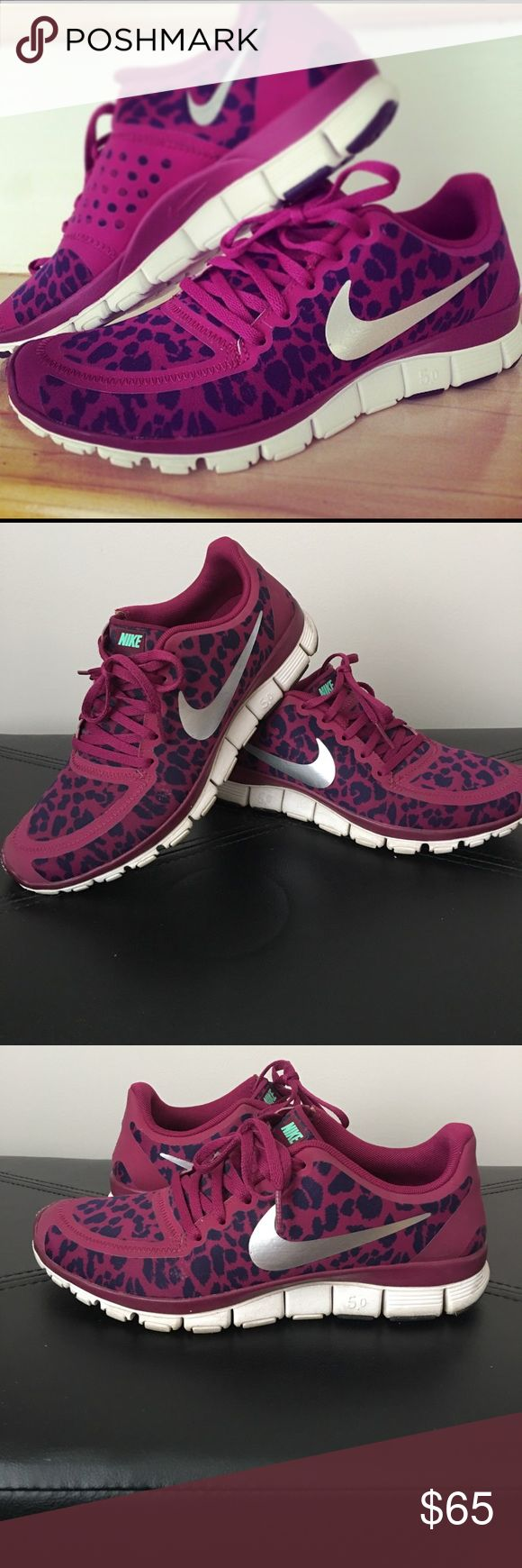 Nike leopard free run 5.0 sneakers Nike free run 5.0 sneakers. Fuchsia sneaker with purple leopard print. Silver Nike check. Runs half size small. Nike Shoes Sneakers