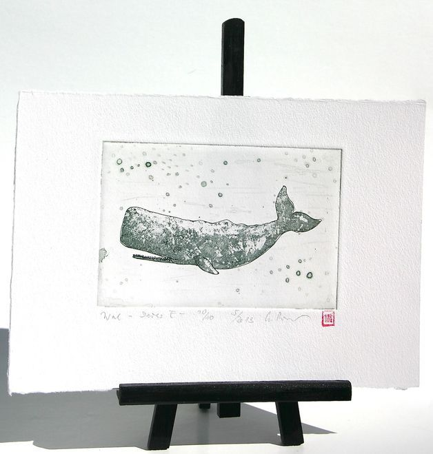Radierungen - Wal Radierung Kupferstich Druck - ein Designerstück von fresh-and-silly bei DaWanda