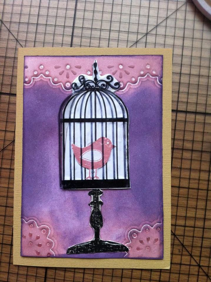 layered bird cage with top layer stamped on acetate.  Glossy accents used to accentuate stand.