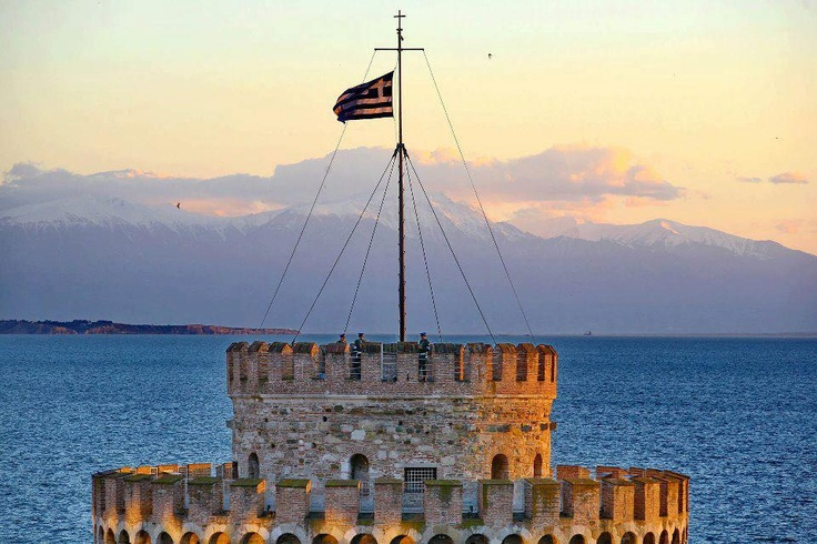Greek Flag in White Tower