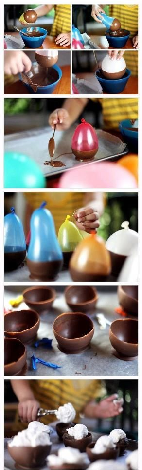 Chocolate Balloon Bowls - **Children  adults with latex allergies should be cautious of ingesting these.  Please add before serving them at a party or to a class.**