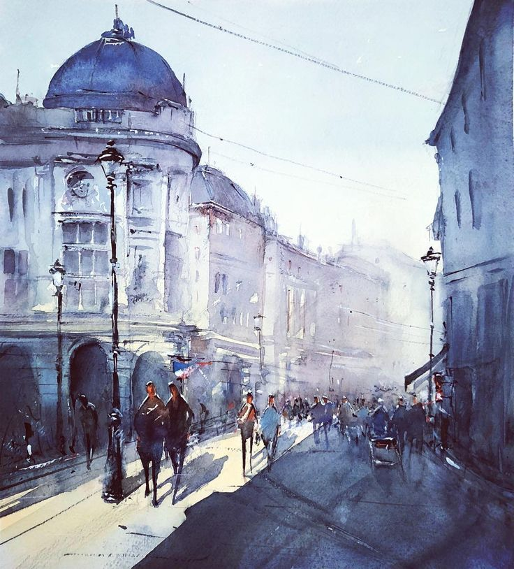 Cold but sunny  Bucharest Old Town  watercolor  30*40 cm
