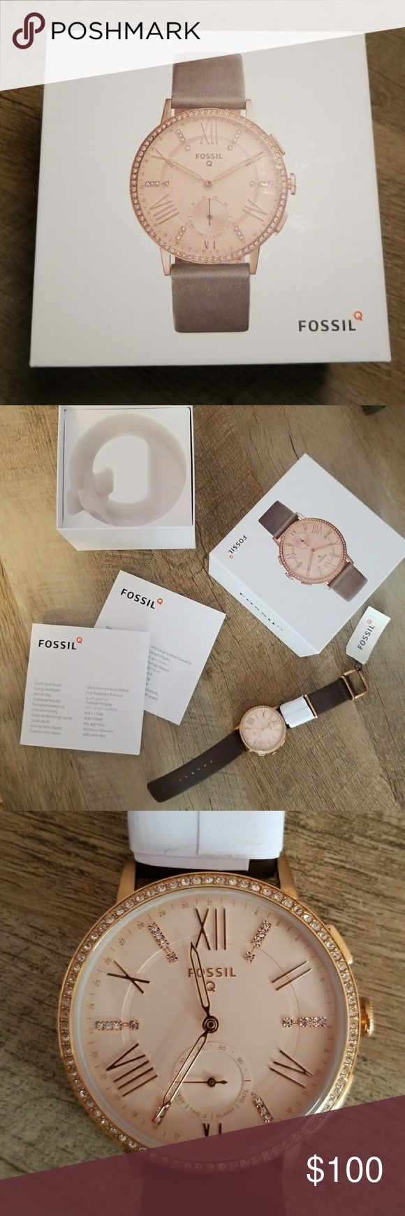 Fossil Hybrid Smartwatch - Q Gazer BRAND NEW Hybrid Smartwatch - real watch face with functionality to control certain apps on smartphone, tracks info through Fossil Q app, alerts new notifications. Rose gold face with CZ detail. Fossil Accessories Watches
