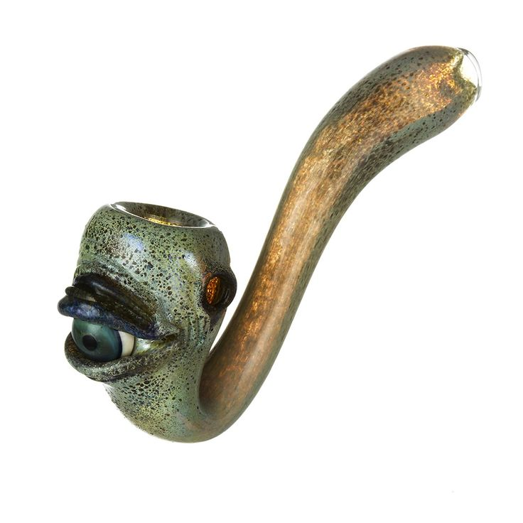 Glass Sherlock Pipe - Light Green Frit and Worked Green Eyeball - Glass Pipes | Grasscity