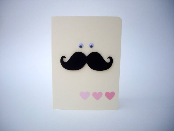 father's day mustache card heart mustache card by JDooreCreations, $3.00