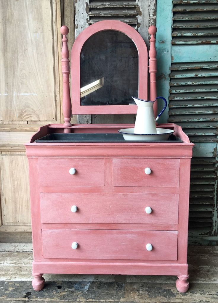 Pretty in pink! This vintage French dresser or dressing table has been hand-painted in pink and makes the perfect addition to a rustic, shabby-chic look.