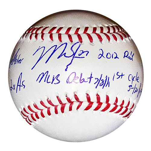 "MLB Alumni Los Angeles Angels Mike Trout Autographed Inscribed ""Stats"" Baseball - MLB.com Shop"