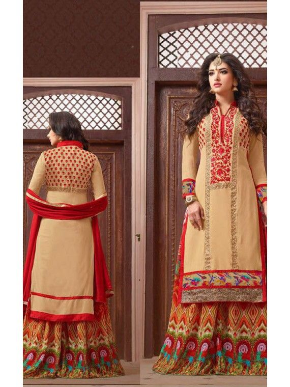Magnificent Cream and Red Deignerr Palazo Kameez