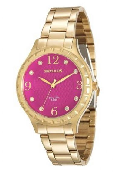 23509LPSVDA4 Relógio Feminino Dourado Seculus Long Life   Guest Club