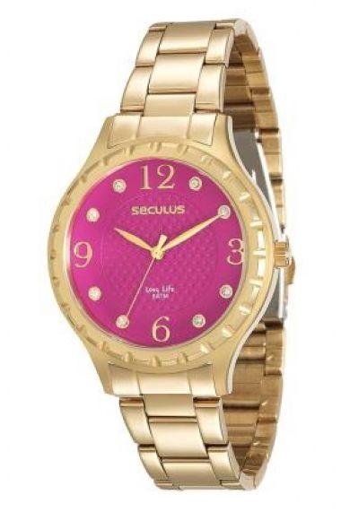 23509LPSVDA4 Relógio Feminino Dourado Seculus Long Life | Guest Club