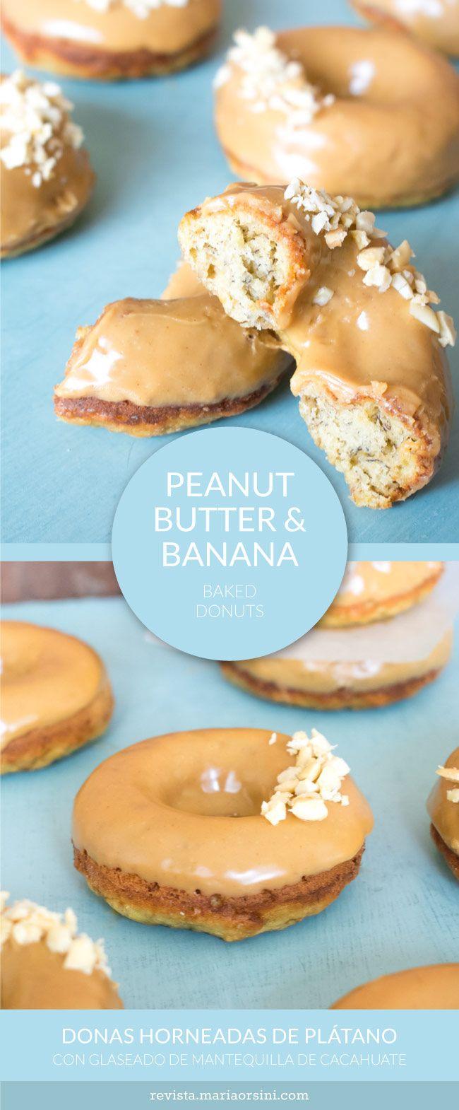 Peanut butter & Banana baked donuts, yummy and quick! - Donas horneadas de plátano con peanut butter, rápidas y deliciosas!