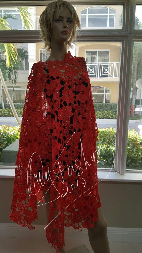 Rojo impresionante lujo encubrir Kaftan a mano nigeriano