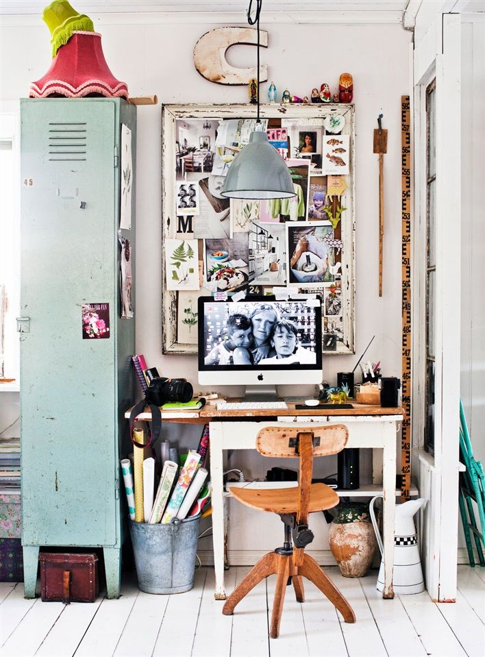 A gorgeously eclectic work area.