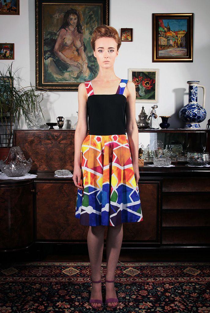 "a dress; a painting by Filip Konieczny entitled ""5D8L""; photo: Dawid Kot, model: Anna Maria Marylska;"