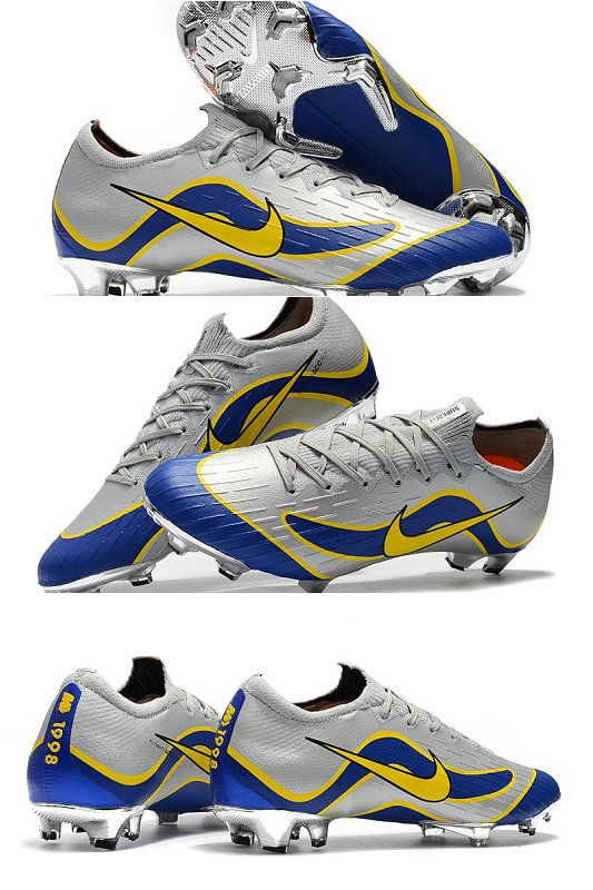 wholesale dealer bc6cf cdee9 ike Mercurial Vapor XII Elite FG Firm Ground Cleats - Silver Blue Yellow