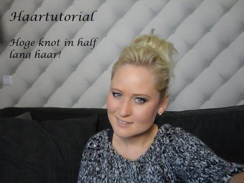 Hoge knot met donut rol in half lang haar - Haartutorial @ http://www.dazzling-beauty.nl/bloggen/hoge-knot-met-donut-rol-in-half-lang-haar