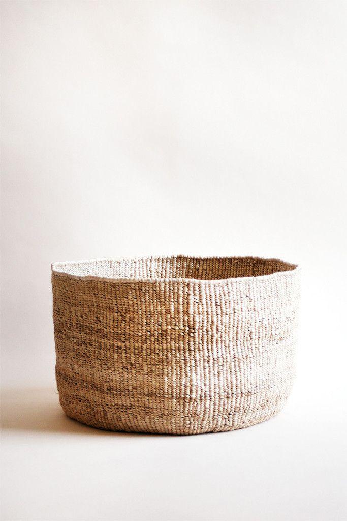 indego africa hand woven banana leaf floor basket